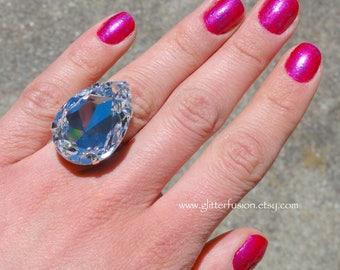 Clear Swarovski Crystal Statement Ring, Giant Pear Shaped Crystal Ring, Clear Diamond Crystal Teardrop Big Bling Ring, Huge Crystal Ring