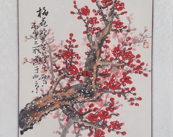 Cherry Blossom painting flowerpainting Original  chinese painting oriental art watercolour-Lovely cherry blossom tree No.87