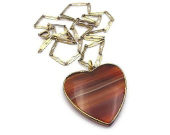 Vintage Scottish Agate Heart Shape Pendant Necklace - Gold Filled, Banded Agate, Germany Chain, Vintage Necklace, Vintage Pendant