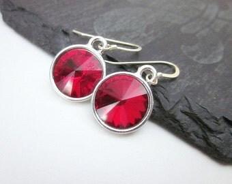 Dark Red Earrings -- Red Swarovski Earrings --  Silver & Red Earrings -- Red Crystal Earrings -- Siam Dangles -- Siam Crystal Earrings