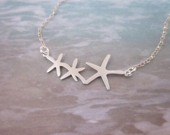 Silver Starfish Necklace -- Sea Life Necklace -- Starfish Pendant Necklace -- Starfish Charm Necklace -- Ocean Necklace --Star Fish Necklace