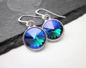 Swarovski Blue Dangles -- Blue Purple Green Earrings -- Rainbow Swarovski Earrings -- Multicolor Crystal Earrings -- Glacier Blue Earrings