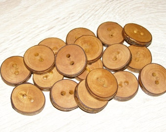 "18 Handmade plum wood Tree Branch Buttons with Bark, accessories (1,0'' diameter x 0,20"" thick)"