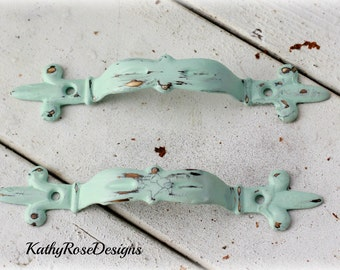 Brass pulls ,shabby chic vintage , orante 3 1/4 between screw hole.provincial white teal black seafoam green black pink