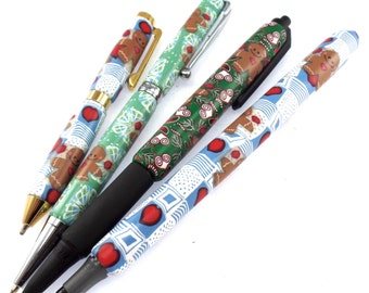Polymer Clay Pen, Gingerbread Man, Stocking Stuffer, Bridesmaid Gift, Christmas Gift