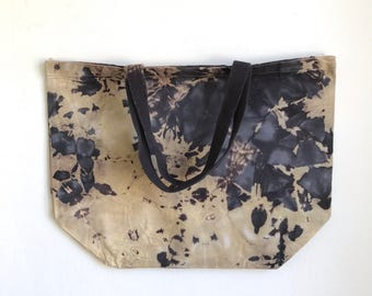 Large Canvas Tote in Hand Dyed Beige and Gray Crystalline Pattern