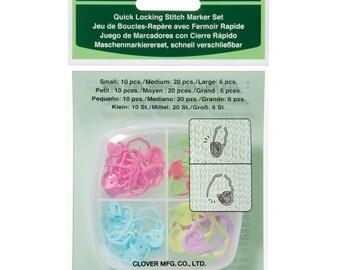 Clover Quick Locking Stitch Marker Set Kit Part No. 3033