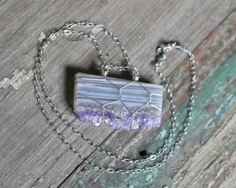 SALE! Purple and White Amethyst Druzy Slice Sterling Silver Necklace