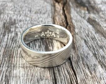 14k Palladium White Gold Mokume Gane & Silver Ring Wedding Ring ( MK-Zen Pd/.925W/Sil ) Ready To Ship