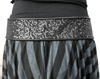BLACK SEQUINED SPARKLE tie front hip belt