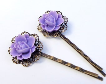 Lavender Rose Filigree Hair Pins,Wedding Jewelry,Elegant Fashion,Prom Hair Jewelry,Purple Rose Bobby Pins,Cottage Chic,Vintage Wedding