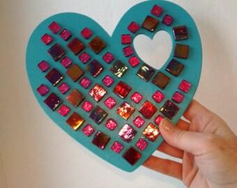 Mosaic heart - heart - wall decor - home decor - glass art gift - home decor gift - valentine gift - red - blue - purple - princess gift