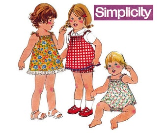 1970s Toddlers Dress Jumper & Bloomers Pattern Simplicity 8048 Vintage Paper Pattern Size 1 Breast 20 Inches