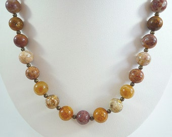 Agate Necklace Gemstone Necklace Rainbow Agate Gemstone Necklace Fall Colors Necklace Agate Bead Necklace Multi Colored Agate Strand