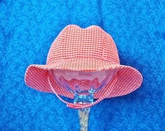 Seersucker Baby Sun Hat Orange and White Plaid with Chin Straps Summer Baby Hats