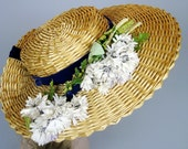 Antique 1910s Wide Brimmed Ladies Edwardian Straw Hat Velvet Ribbon and Fabric Flowers