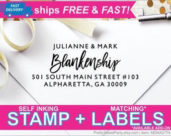 Return Address Stamp Self Ink, Custom Address Stamp, Wedding Stamp, Return Address Labels, Calligraphy Personalized Address Stamp MDNA27704L