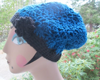 Turquoise and Black Slouchy Hat by SuzannesStitches, Teen Girl Hat, Flower Hat, Blue Beach Hat, Crochet Slouchy Hat, Winter Fashion Hat, Hat