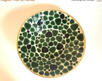 "Mid Century Green Mosaic Tile & Metal Decorative Bowl - 10-1/8"" wide"