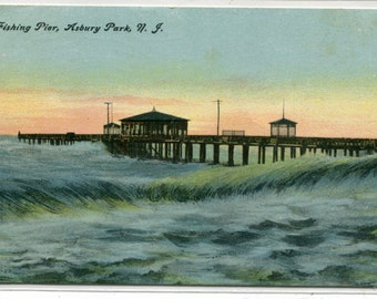 Fishing Pier Surf Asbury Park New Jersey 1909 postcard