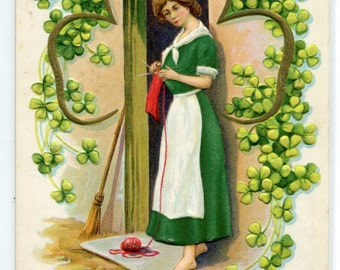 St Patrick's Day Irish Woman Knitting Shamrock Ireland 1912c postcard