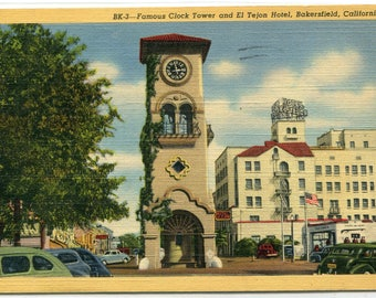 Clock Tower El Tejon Hotel Bakersfield California 1945 linen postcard