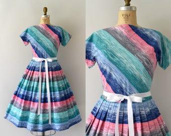 1950s Vintage Dress - 50s Colorful Stripe Cotton Dress
