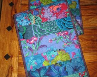 "Quilted Table Runner, Kaffe Fassett Bright Blue Green and Purple Summer Decor, Reversible 13 x 48"" 100% cotton fabrics"