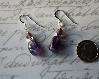Amethyst Nuggets and Rounds with Sterling Silver Accents Earrings