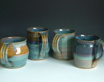 Hand thrown stoneware pottery mixed mugs set of 4  (MM-9)