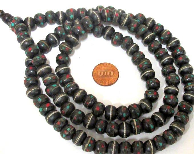 108 bone beads - 10 mm Tibetan black brown color bone mala beads with turquoise coral inlay and Guru bead supply - ML040A