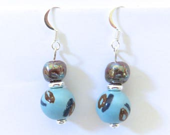 Kazuri Earrings, Blue with a touch of Brown Ceramic Earrings