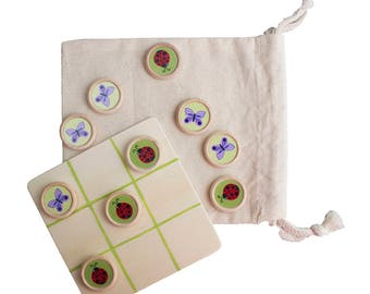 Tic Tac Toe - Butterflies vs. Ladybugs - Travel Size Game with Wood Board and Muslin Bag - Reproduction of Hand Painted Images