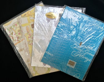 Vintage wrapping paper American Greetings shower engagement wedding in package