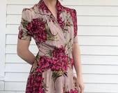 Vintage 30s Floral Dress Print Smocked AS IS S