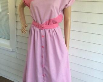 Pink Dress Retro 50s Style Casual Secretary Vintage S