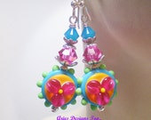 Funky Floral Lampwork  Earrings in Pink,Orange,Aqua and Green ,Pink Floral Earrings on an Orange and Aqua Background w/ Green Beaded Edge