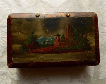 Outstanding Tiny Victorian Ladies Wooden Bucholic Decoupage Hinged Trinket Box Nice!