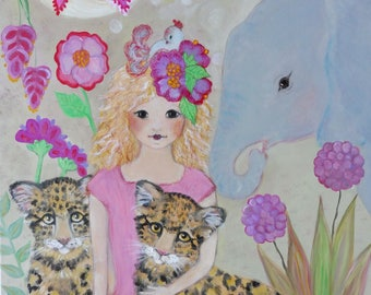 Original Painting Acrylic Art Pink Jungle Leopard Cubs Elephant  Bird Blonde Girl Naive Folk Wall Decoration