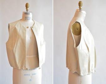 Vintage 1980s HELMUT EDGES minimalist leather vest