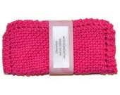 Hand Knit Dish Cloths, Knitted Dishcloths, Knitted Dish Rags, Knit Washcloth, Hot Pink