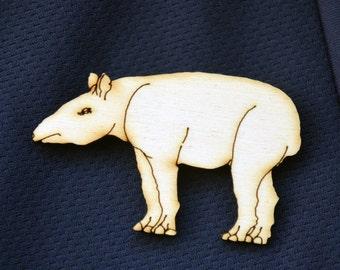 Tapir Wooden Brooch