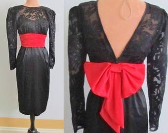 80s Glam Sheer Illusion Cocktail Dress, Open Back, Big Bow, Wiggle, Pencil Skirt, Vintage