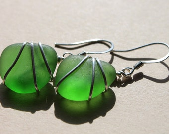 Genuine Sea Glass Earrings - Vintage Found Emerald Green Sea Glass Earrings - Wire Wrapped Boho