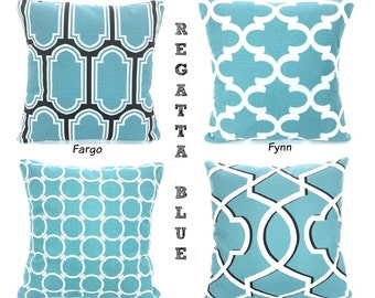SALE Blue Pillow Covers, Decorative Throw Pillows, Cushions, Regatta Blue Black White, Couch Bed Sofa Pillows, Mix & Match Various SIZES
