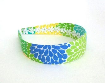 Summer Floral Preppy Fabric Covered Headband ~ Girls Women Adults