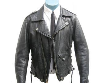 Vintage Golden Bear Motorcycle Jacket Mens 1970s Black Leather Side Lace Biker Jacket with All Talon Zippers Made in USA Will Fit a Size 40