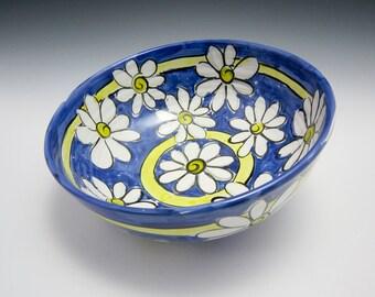Large Ceramic Serving Bowl - Medium Pottery Serving Bowl- White Daisy Flower Blue - Clay Bowl - Majolica Bowl - Fruit Bowl - Kitchen Decor