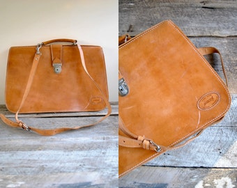 Vintage Leather Briefcase  //   Messenger Bag  //  THE SUNDANCE