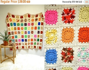 25% off sale - Granny Square Afghan  //  Large Crochet Blanket  //  THE ZINNIA